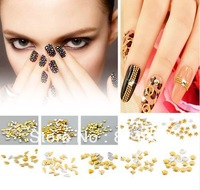 Free Shipping 10000pcs/lots Mixed 10 styles Gold Plated Metallic Nail Art Decoration  Rhinestone 3D Studs Tips