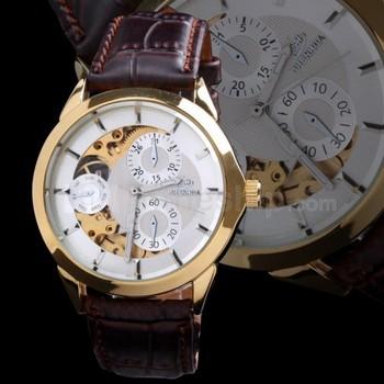 2013 Hot Gift Designer Men Brown Genuine Leather Belt Mens Automatic Watch SHENHUA Tag Brand Skeleton Mechanical Men's Clock