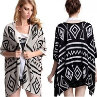 2013 New Fashion Open Front Wool Sweater Vintage Gothic Geometric Figure Kaross Cape Short Cardigan Women's One Size In Stock