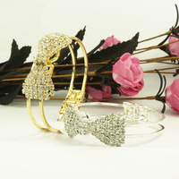 Fashion Cute Jewelry Crystal Rhinestone Bow Bowknot Bracelet Bangle Wristband  LKS073