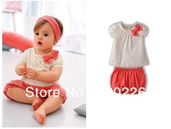 2013 pink shirt + shorts/baby/infant suit/free shipping(China (Mainland))