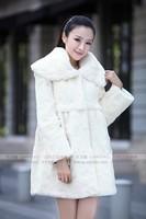 Free shipping 100% real natural Rex rabbit fur collar cape rabbit fur overcoat fur leather coat  loose plus size , 5XL WTP0