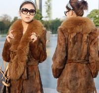 Free shipping 2014 new winter woman Large fox fur collar medium-long wild rabbit fur coat fur overcoat WTP0