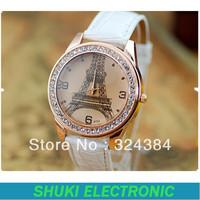 Free shiiping classic eiffel tower watch ,leather diamond wristwatch for women men