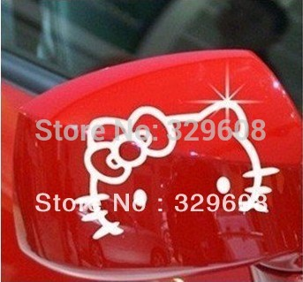 2Pcs/Set Hello Kitty Car Stickers Cute Wall Stickers Rearview Mirror Decorative Stickers(China (Mainland))
