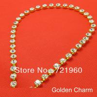 10 meters Golden charm SS8.5.5(2.4mm-2.5mm)   Czech  crystal  rhinestone 65#brass  strass chain  silver base