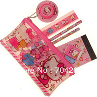 Lovely Hello Kitty 7in 1 stationery set/1Zipper pencil case+2 pencils+1 ruler+1rubber+1Sharpener+1stickers school supplies gift