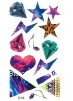 Multicolour diamond lok fu temporary waterproof tattoo stickers