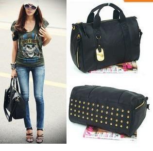 HOT SELLING 2014 women's handbag fashion british style rivet messenger bag portable backpack vintage style leather shoulder bag