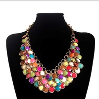 New Arrival Hot Sale Western Style Bohemia's Choker Collar Resin Necklace,fashion Round Pendant Layer Statement Necklace Gift