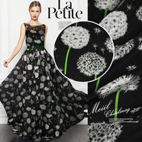 Free shipping, Women jumpsuit long skirt / dress silk chiffon fabric, 100% mulberry silk, 135cm wide format printed silk fabric.