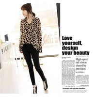 2013 New Sexy Wild Leopard  Blouse For Womens Chiffon Top Loose Shirts Sheer 4 Sizes M L XL XXL Free Shipping Drop Shipping