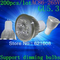 Free shipping 200pcs/lot High power GU5.3  15W 12W 9W 220v Dimmable Light lamp Bulb LED Downlight Led Bulb Warm/Pure/Cool White