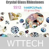 SS12,1440pcs/bag non-hotfix FlatBack white clear Rhinestones nail art crystals stones free shipping UP to 15$