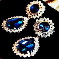 free shipping Sexy gorgeous Dark Blue gem vintage formal dress long earrings 5008