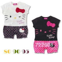 free shipping R06  Wholesale Summer models hello kitty girls modeling infant baby short-sleeved colors black or  white Rompers