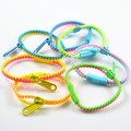 Fashion plastic resin zipper bracelet can be mixed up metallic color with double colors