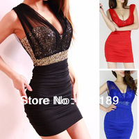 Q8058 Free Shipping New Ladies Sexy Sequin Empire Waist Sleeveless See-through Mesh Party Mini Dress Bodycon Club wear Dresses