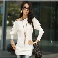 2014 Casual    Korean Women Bat Sleeve Slim Zipper Collar Long-sleeved T-shirt Tops  Products