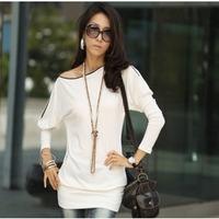 2015 Casual    Korean Women Bat Sleeve Slim Zipper Collar Long-sleeved T-shirt Tops  Products
