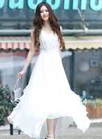 7 color , New 2014 women summer dresses V-Neck Sleeveless Chiffon long dress Slim women dress vestidos