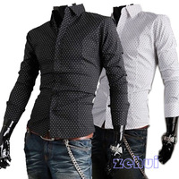 Mens Stylish Casual Luxury Slim Fit Button-Front Park Dot  Print  Blouse Long Sleeved Shirts  SL00194