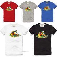 Free shipping New 2013 Men's Casual Short Sleeves T-shirt 100% cotton short-sleeve t-shirt magic cube all-match basic shirt