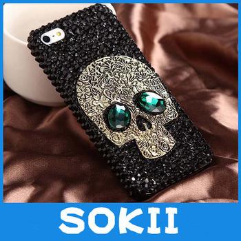 3D Handmade Skull Bling case cover for iPhone 4 Cover, For iphone 5 5s 5C luxury diamond  fashion bling skull back case