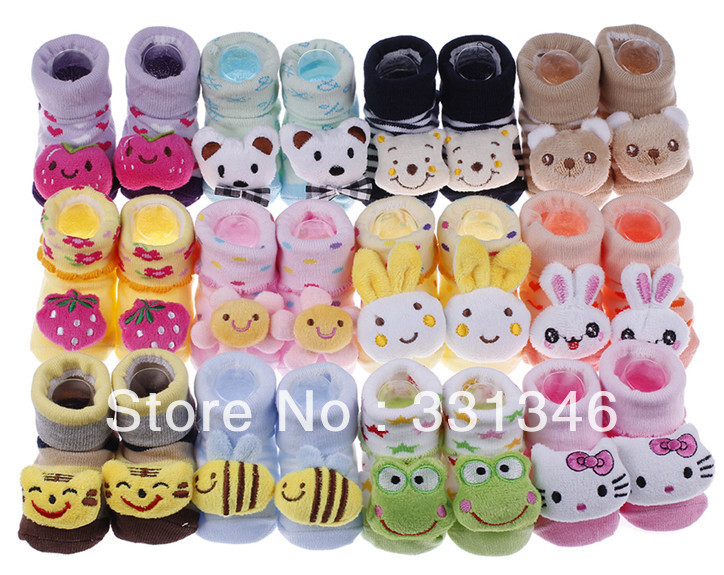 12pair 1 dozen per bag New Cute Newborn Soft Sole Child Kid Baby Indoor Anti-slip Warm Sock Shoe Boot Free shipping(China (Mainland))