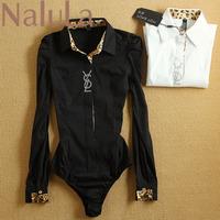 Plus Size Spring New 2014 Ol Leopard Print Long-sleeve Shirt Women Clothing Women's One Piece Blouses Women Blouse SC6095