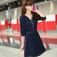 2014 summer Women's blue short chiffon Dress Fashion half sleeve loose Chiffon Dress V-neck large size S M L XL XXL XXXL 4XL