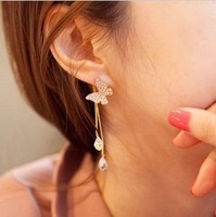 2013 New Fashion Cute Lovely Butterfly Shaped Crystal Stud Earring for Women Ladies with Simulated Dimaond Wholesale Jewelry