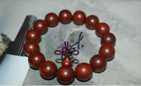 Parallel to the grain of lobular red sandalwood the old material prayer beads bracelet 15MM bracelets