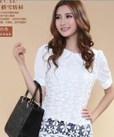 free shipping whole sales large women fashion summer lace blouse plus size