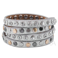 22.5'' sexy Jeweled leather bracelet bangles men and women wrap bracelet fashion jewelry 2013 bijouterie B138BL04