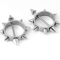 2pcs / 1Pair 18ga Spike Stainless Steel Bars Sheild Nipple Ring Hoop Body Piercing Punk free shipping