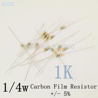 1/4w 1k ohm +/- 5% Carbon Film Resistor / 0.25W 1K Color Ring Resistance (200pcs/lot)