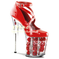 [(My God)] Free shipping New arrival 2014 20cm red high-heeled platform wedding heels shallow mouth t type straps fashion shoes