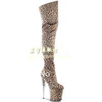 [(My God)] Free shipping 2014 20cm ultra high heels platform leopard print over-the-knee fun the queen 15cm18cm 12cm women boots