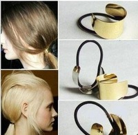 MOQ $5 Chic Catwalk Metal Hair Cuff  Wrap Pony Tail Band Metal Holder Ring Mirror Tie Stretch Z-B1048 Free Shipping
