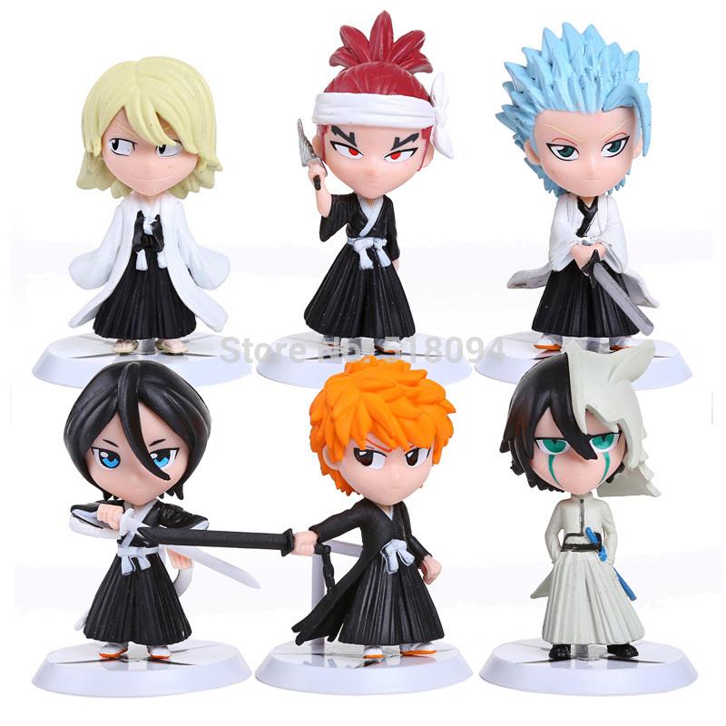 Free Shipping Anime Bleach Ichigo Ulquiorra cifer Renji Ichimaru Gin Toushirou PVC Action Figures Toys Dolls 6pcs/set BLFG012(China (Mainland))