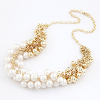 2014 New Arrival Fashion Gold Jewelry Beads Collar Necklace For Women High Quality Free Shipping