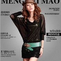 2013 New Fashion Sexy & Club Package Hip Paillette Loose Batwing Sleeve Perspective Ladies' Dress free shipping LJ392
