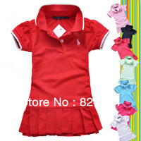 2013 NEW, Retail Free shipping Europe girls polo dress girls tennis dress pure color princess dress girl's dress high quality