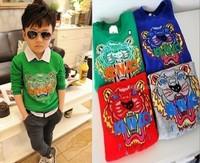 boy gril children's Tiger head computer embroidery long-sleeved fleece sweater hoodies sweatshirts