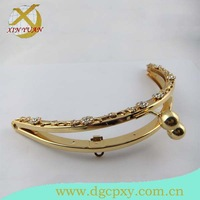 19.5*9cm gold color Metal frame for purse and handbag clutch with kiss lock and shining flower