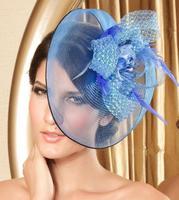 2013 Fashion Party Hair Accessories Mini Teardrop Hat Birdcage Veil Feather Ribbon Headdress Headwear Fix By Hair Grips WIGO0121