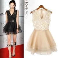 LACE Fashion women dress night dress back gauze lace fashion one-piece dress - perspectivity Free shipping