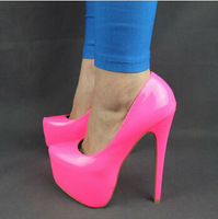 New arrived 2014Free shipping Women Hot Neon color sexy 15.5CM ultra High heel Pumps/Pink yellow platform party shoes Size 35-41