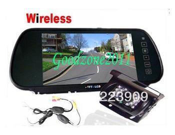 "Heavy Duty 18 IR Wireless Reversing Camera + 7"" LCD Monitor Mirror Car Rear View"
